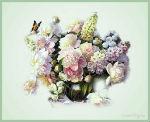 музыкальная открытка, 8 марта, цветы в карзине, анимация