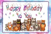 открытка музыкальная Happy Birthday, анимационная открытка Happy Birthday, анимация поющие котики, прикольная открытка с днём рождения