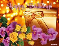 открытка музыкальная, Happy Birthday To You You, анимационая открытка с днем рождения, анимация орхидеи, розы, подарок