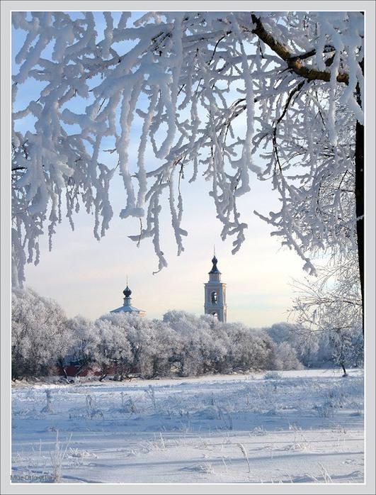 музыкальная открытка Крещение, бог слово явися роду людскому, открытка Крещение, богоявление, зима, деревья в снегу, церковь