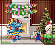 музыкальная поздравительная открытка с новым годом, новогодние игрушки, анимационная открытка, елка