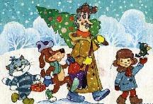 музыкальная новогодняя анимационная открытка, кабы не было зимы, простоквашино