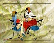 музыкальная открытка для подруги, две девушки за столиком, вино, анимация, музыкальная открытка с кодом от сайта MuzOtkrytka