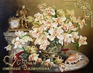 музыкальная открытка в день всех влюбленных, анимационная открытка, орхидеи