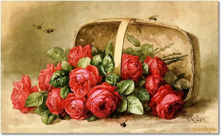 плетеная корзина с красивыми розами, открытка с кодом