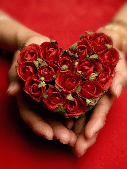 открытка день святого Валентина,сердце из роз в руках с кодом.