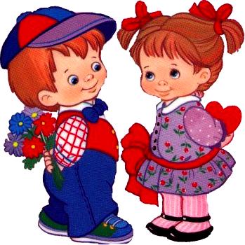 Анимация мальчик с цветами девочка с сердечком с кодом.