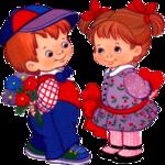 анимация с кодом, мальчик с цветами девочка с сердечком