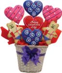 открытка в день святого Валентина, ведерко с сердечками и мишками с кодом