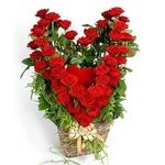 открытка день святого Валентина, сердце из роз в корзинке