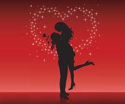 женщине которую люблю, музыкальная открытка с кодом, анимация силует пары, большое сердце