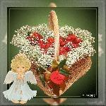 музыкальная открытка для любимой девушки, музыкальная открытка с кодом, корзина с клубникой, ангел, я тебя люблю, анимационная открытка