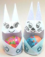 пасхальные поделки из бумаги, подставка под яйцо, заяц оригами, схема