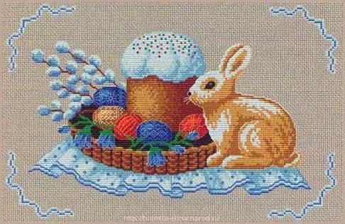 вышивка крестиком к пасхе, зайчик, кулич, яйца, верба