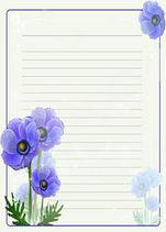 красивая бумага для письма, анютины глазки, распечатать, бесплатные шаблоны