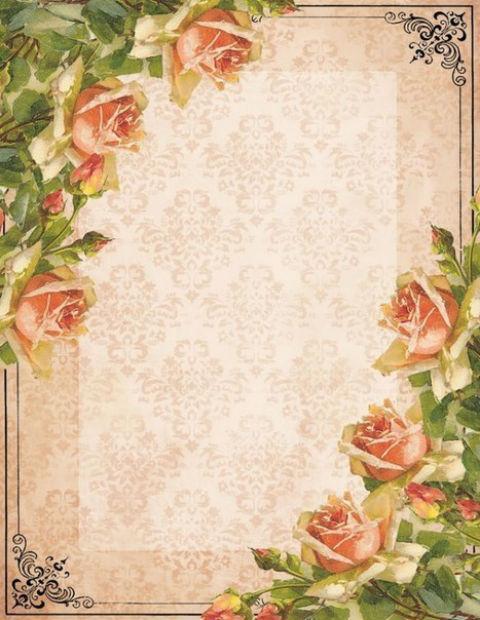 красивая бумага для писем, цветы, розы, винтаж, распечатать, шаблоны
