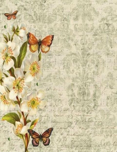 красочная бумага, винтаж, цветы, бабочки, ретро, бесплатно, шаблоны