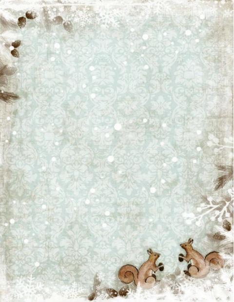 красивая бумага для писем, белочки, снег, распечатать, шаблоны