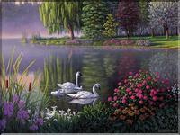 музыкальная открытка, а белый лебедь на пруду, открытка, я куплю тебе дом у пруда в подмосковье